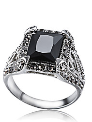 Ibecci Vintage Silver Mens Rings with Black Zirconia and Rhinestone