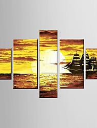 pintura al óleo pintada a mano abstracta con estirada enmarcada - juego de 5