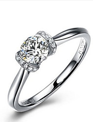 Forever Love Promise Marriage Jewelry 0.5CT SONA Diamond Ring for Women Sterling Silver in Platinum Plated Pt950 Print