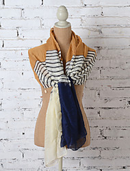 2015 New Design Women 100% Polyester Stripe Classical Long Scarf