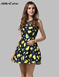 Milaieshow Women's Round Collar Floral Print Dress
