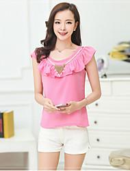 Women's Solid Blue/Pink/White Blouse , Ruff Collar Sleeveless Ruffle