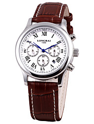 Men's Calendar Analog Stainless Steel Case Round Dial Leather Band Japan Automatic Watch Gift Watch(Assorted Colors)