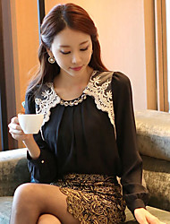 Women's Formal Simple Spring Blouse,Solid Round Neck Long Sleeve White / Black Thin