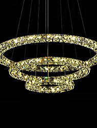 LED Crystal Pendant Lights Ceiling Lighting Amber K9 Crystal Round 3 Rings  D406080 Lamps Fixtures