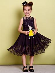 Dress - Black A-line Jewel Knee-length Chiffon / Lace