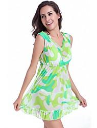 Free Shipping Vintage Puckering And Ruffles Print Transparent Mesh Fashion Women Beach Dress