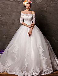 Ball Gown Wedding Dress Floral Lace Court Train Off-the-shoulder Tulle with Appliques
