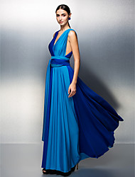 TS Couture Prom Formal Evening Dress - Color Block A-line V-neck Floor-length Jersey with Sash / Ribbon Pleats