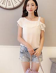 Women's Casual Solid Color Ruffle Short Sleeve Blouse (Chiffon)