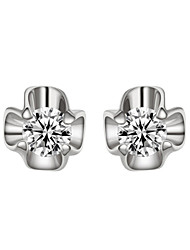 T&C Women's Lovely Gold Flower Crystal 18K White Gold Plated Stud Earrings Jewelry Austrian Crystal