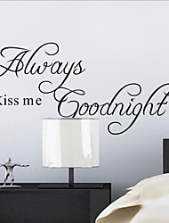 Always Kiss Me Goodnight Quote Wall Decal Zooyoo2003 Decorative Adesivo De Parede Removable Wall Sticker