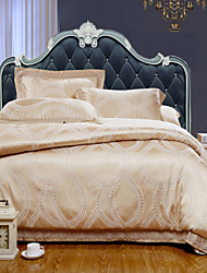 4-Piece The high-end Floral Jacquard Cotton Queen Duvet Cover Sets Vitality