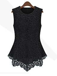 Morefeel Women's Lace Round Sleeveless Tops & Blouses (Lace)