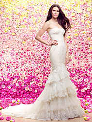 LAN TING BRIDE Trumpet / Mermaid Wedding Dress See-Through Court Train Sweetheart Lace Tulle with Appliques Tiered