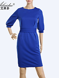 Aold®women's round neck three quarter sleeve pure colour sllim one piece dress(Spandex/Polyester)