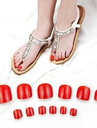 70pcs Bright Red Toe False Acrylic Nail Art Tips