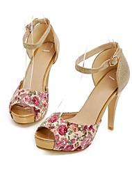 Women's Shoes Fabric/Glitter Stiletto Heel Heels/Peep Toe/Platform Pumps/Heels Dress Blue/Red