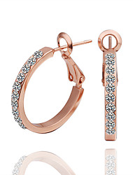 Stud Earrings Hoop Earrings Rose Gold Cubic Zirconia 18K gold Simulated Diamond Rose Gold Jewelry 2pcs