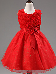 Girl's Chiffon/Mesh Dress , Summer Short Sleeve