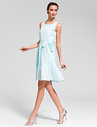 Cocktail Party Dress A-line Jewel Knee-length Chiffon