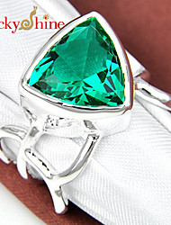 Lucky Shine Unisex Silver Rings With Gemstone Shine Triangle Green Amethyst Prasiolite Crystal Holiday Gift