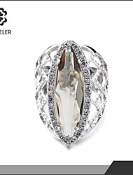 Women Gold-Plated Elegant Oval Champagne Zircon Ring Hot sell