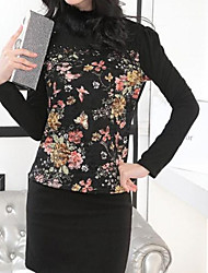 Women's Print/Lace Black Blouse , Crew Neck/Stand Long Sleeve Lace/Flower