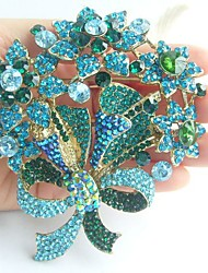 Women Accessories Gold-tone Turquoise Rhinestone Crystal Flower Brooch Art Deco Crystal Brooch Bouquet Women Jewelry