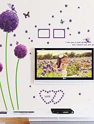 Wall Stickers Wall Decals Style Purple Dandelion PVC Wall Stickers