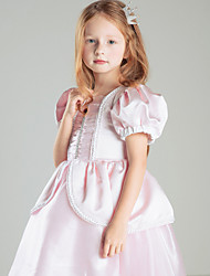 Ball Gown Knee-length Flower Girl Dress - Satin Short Sleeve