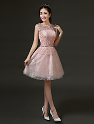 Short/Mini Lace Bridesmaid Dress - Ruby/Pearl Pink/White/Gray/Sky Blue A-line Jewel