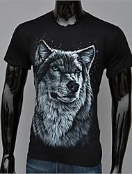 Camisetas ( Algodón/Modal )- Casual/Impresión/Fiesta Redondo Manga Corta para Hombre