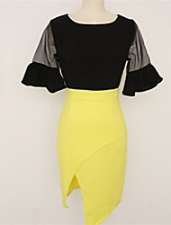 Women's Sexy Bodycon Casual Cute Plus Sizes Micro Elastic ½ Length Sleeve Asymmetrical Dress (Others)