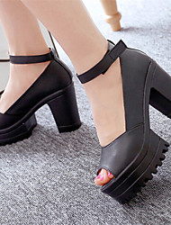 Women's Shoes Chunky Heel Peep Toe Pumps/ Dress Black/White
