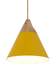 Mini Artistic Cone Pendant Lamp/1 Light/Mordern Simplicity/Finish Black/White/Yellow/Aluminum & Wooden Droplight