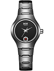 bos mulheres caixa preta cerâmica basta discar ultrafino pulseira de relógio