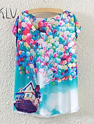 Women's Balloon Houses Print Casual Stretchy Short Sleeve Regular T-shirt (Polyester)