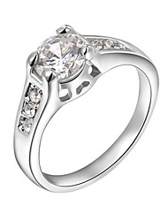 T&C Women's 18K White Gold Plated Mounting 1.2 Ct Zirconia Diamond Engagement Jewelry Rings