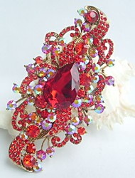 Women Accessories Gold-tone Red Rhinestone Crystal Flower Brooch Art Deco Crystal Brooch Bouquet Women Jewelry