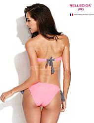 Relleciga 2014 frischer Pfirsich pink navy Stil Push-up-Bandeau-Bikini mit schwarzem Streifen und Button-schmuck festlegen