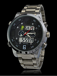 Fashion Waterproof Sports Watches Men Full Steel Analog Digital Dress Watch Military Wristwatch Dive LED Clock