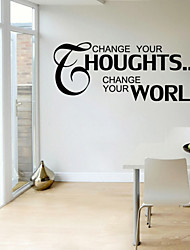 Wall Stickers Wall Decals Style Change Your Houghts English Words & Quotes PVC Wall Stickers