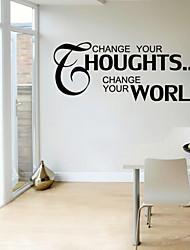 pegatinas de pared de pared de calcomanías cambiar sus houghts palabras inglesas&cita pegatinas de pared del pvc