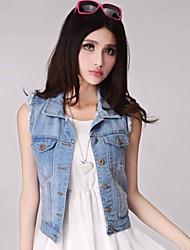 Women's Casual Micro-elastic Sleeveless Short Regular Top Denim Vest (Cotton/Twill/Oxford cloth)