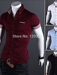 Mens Casual Slim Fit Cotton Plaid Short Sleeve Shirt Tee Tops Solid Dress Shirt  and Drop shipping MS128