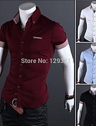 mens ajustement coton chemise à carreaux à manches courtes mince casual tee tops solide robe chemise et tomber ms128 expédition