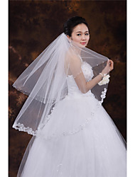 Wedding Veil Two-tier Fingertip Veils Lace Applique Edge Tulle White Ivory Beige