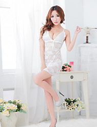 Women Polyestere/Lace Sexy Deep V Sleepwear Sleep Tee White