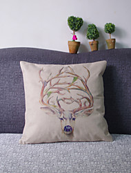 Retro Style Elk Throw Pillow Case Pillowcase Sofa Home Decor Cushion Cover (17*17 inch)
